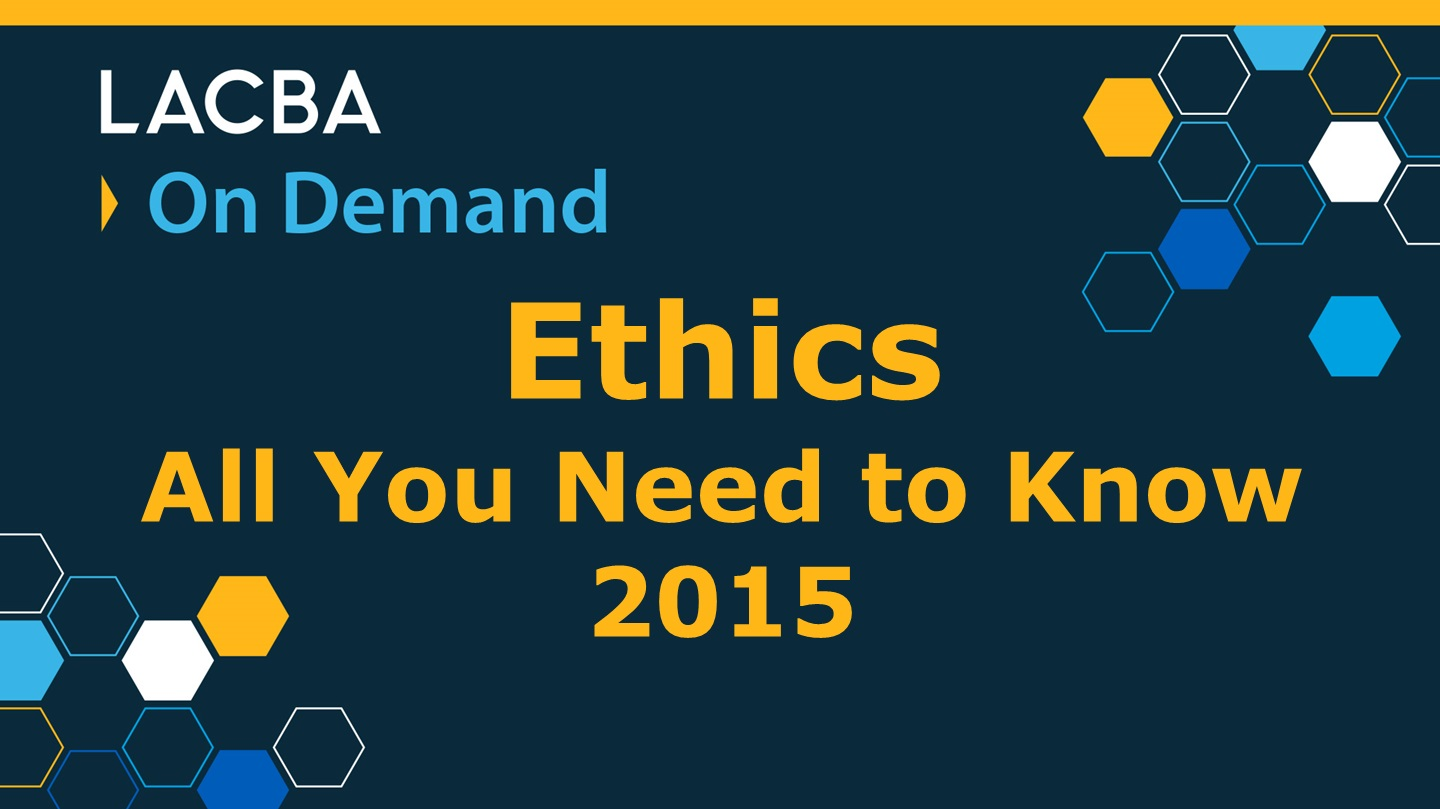 Ethics On Demand Program 1/9/16
