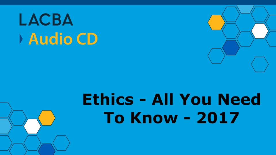 Ethics Audio CD Program 1/13/18