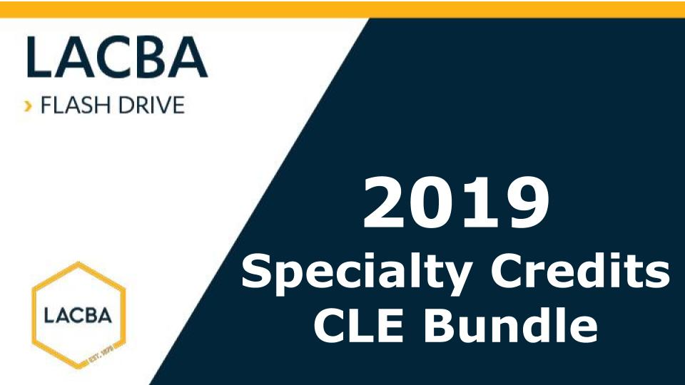 2019 Specialty Credits CLE Bundle Flashdrive (Mp3 on USB)