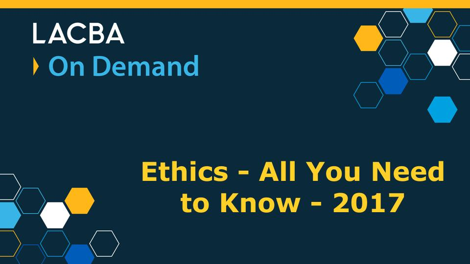 Ethics On Demand Program 1/13/18